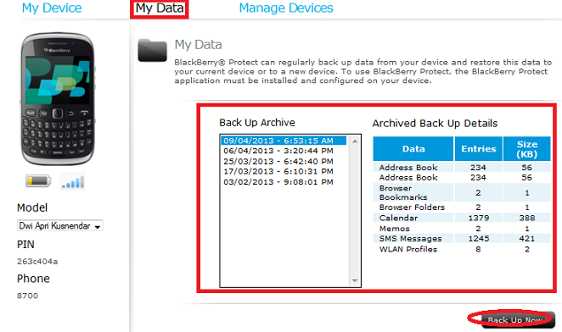 Backup data blackberry via Online