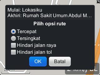 Opsi rute tercepat di Maps