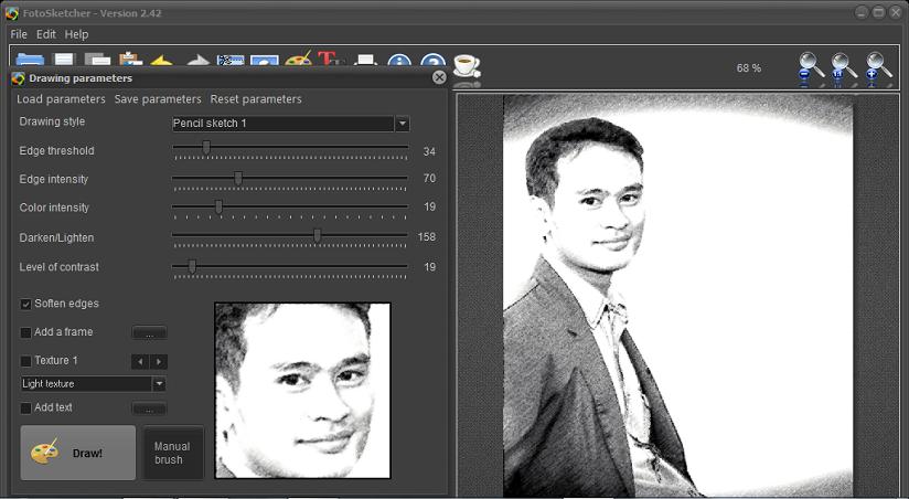 edit foto dengan fotosketcher