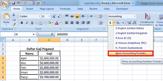 more account formats excel