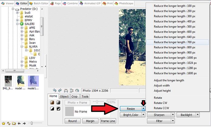 resize foto di Photoscape