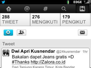 EDit Profil Twitter di BB
