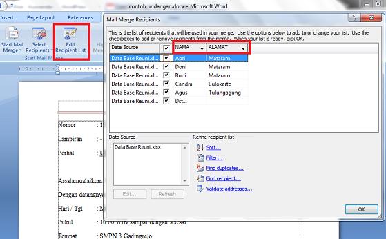 edit recipients mail merge
