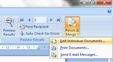 finish mail merge di word