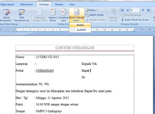 insert mail merge