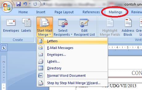 Setelah itu pilih menu Select Recipients>>Use Existing List .