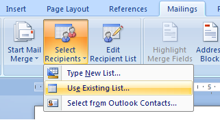 open file mail merge