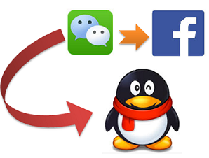 menghubungkan WeChat ke QQ dan FB