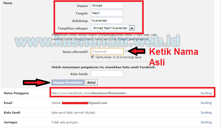 Edit Nama Facebook