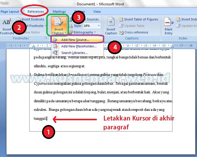 Cara Membuat Daftar Pustaka Otomatis di Word 2007/2010