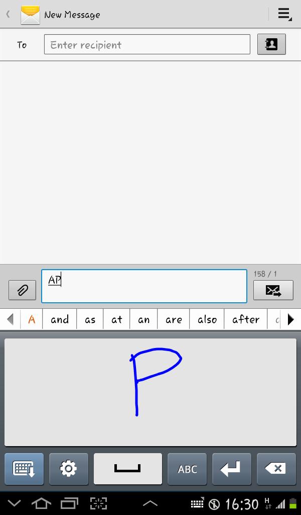 Tampilan Handwriting Box