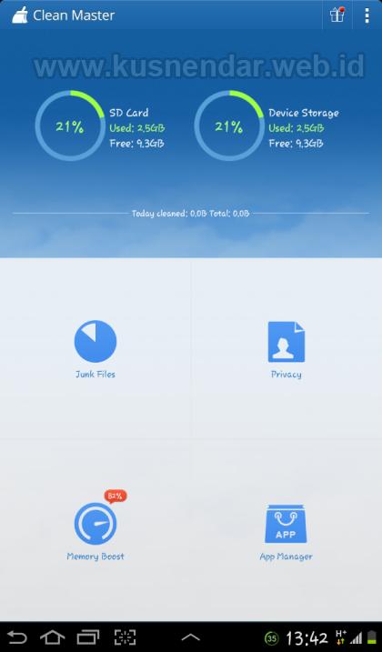 Menu Aplikasi Cleaner Android