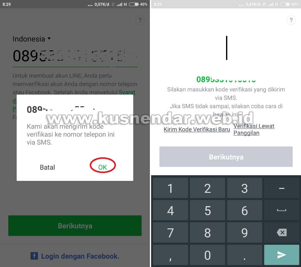 Verifikasi akun LINE Android
