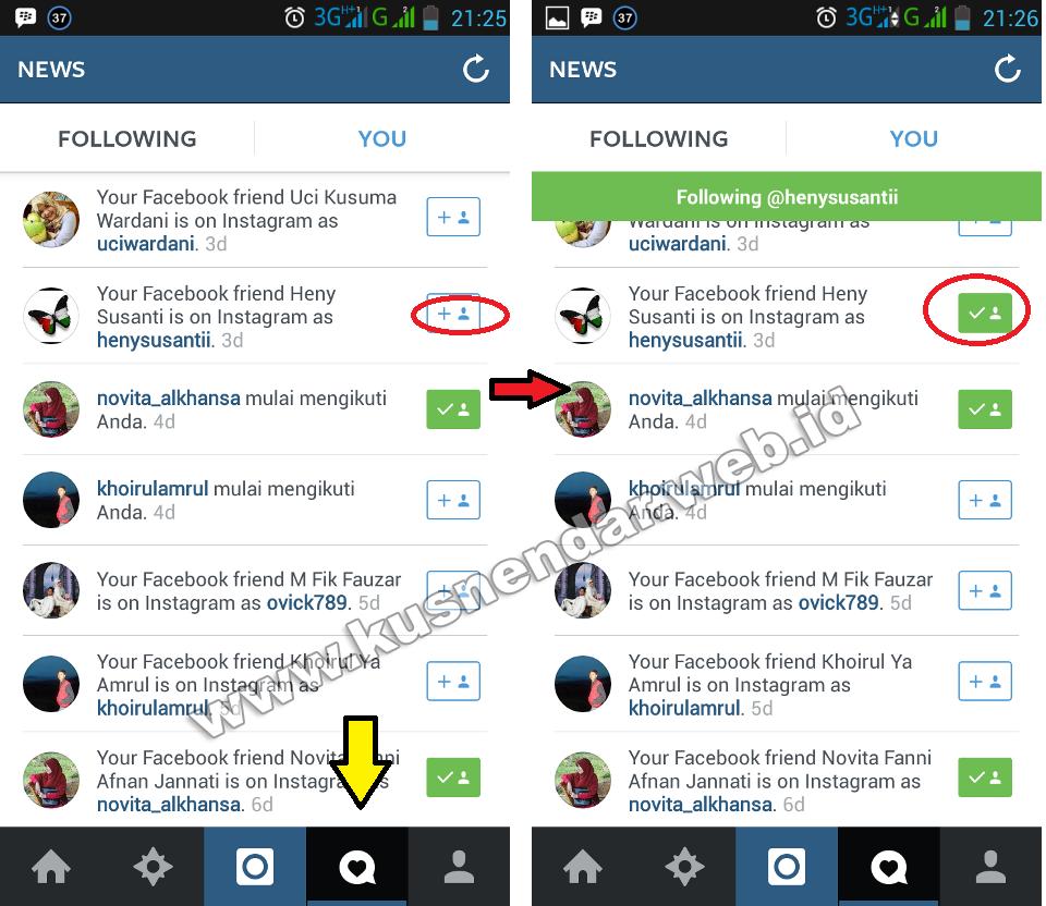 cara follow teman instagram