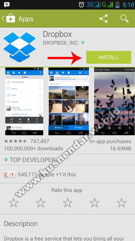 Install DropBox Android di Play Sore