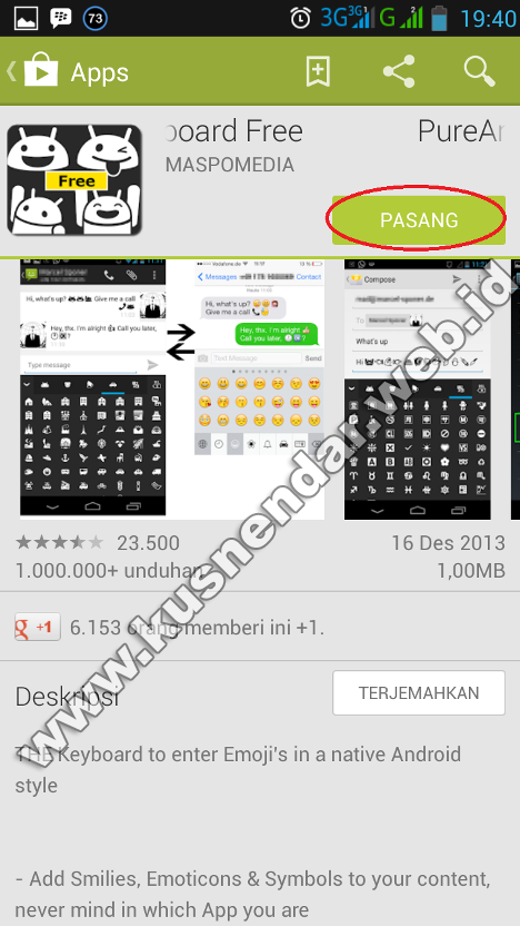 Download install emoticon untuk Instagram android