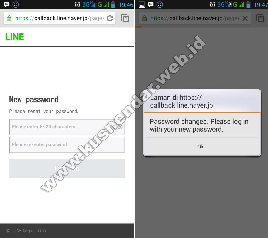 password baru LINE