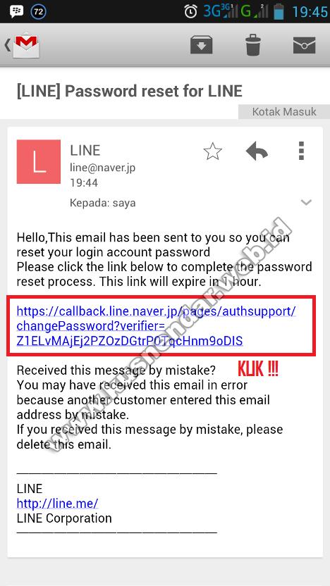 verifikasi password LINE