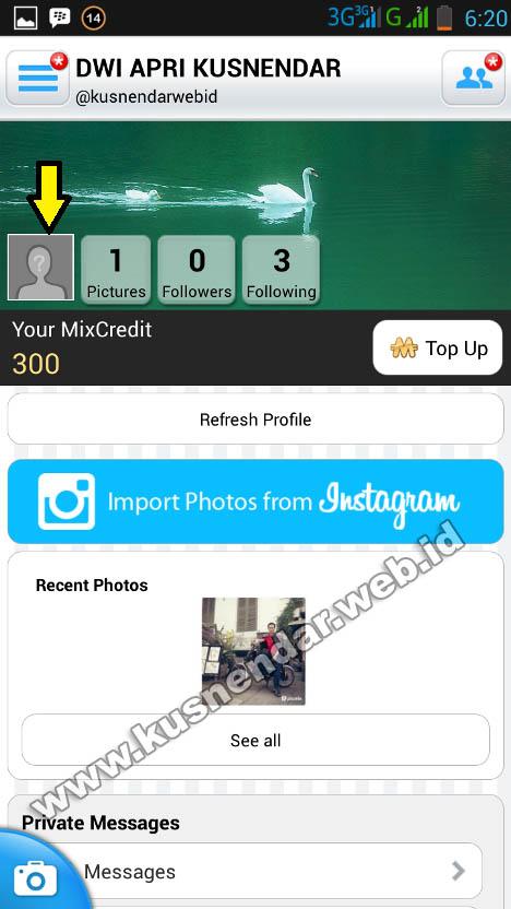 Cara ganti foto profil di picmix Android