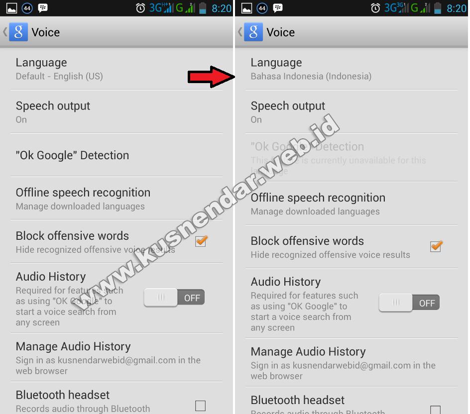 Cara merubah bahasa google voice search di Android