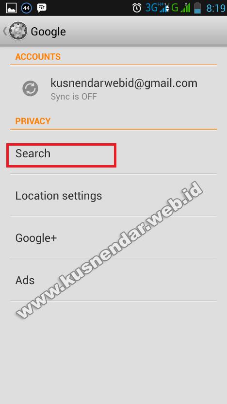 pengaturan google search di Android