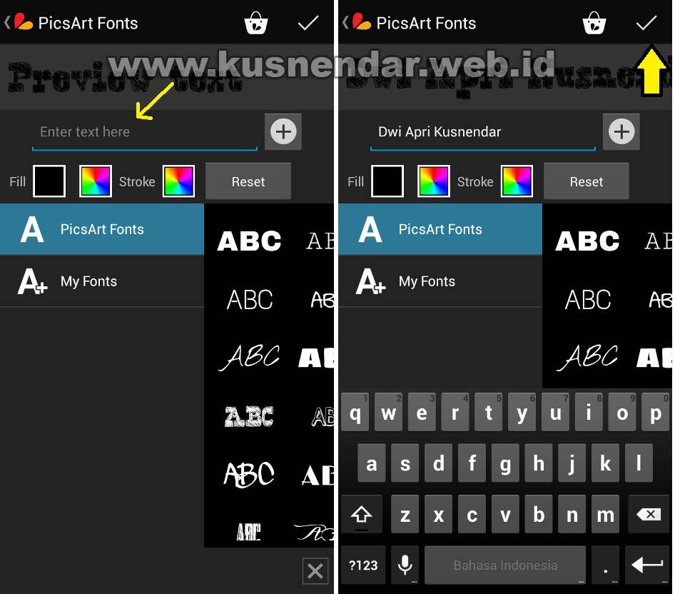 Memberi Teks Tulisan Foto di Android Memakai Aplikasi PicsArt ...