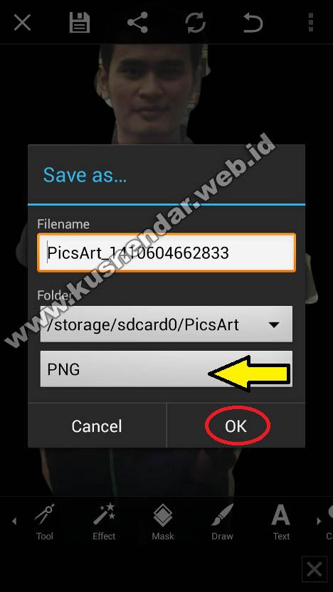 menyimpan foto edit ke PNG