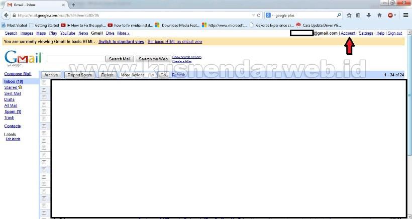 Menu Account Gmail