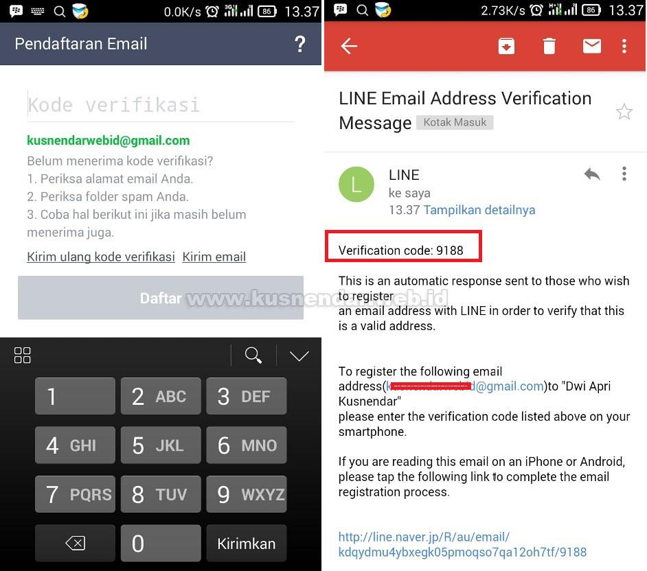 verifikasi email di LINE baru