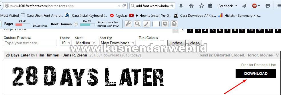 download font word baru