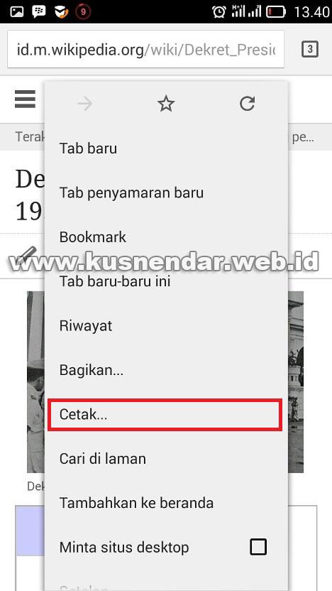 menu cetak chrome android iOS
