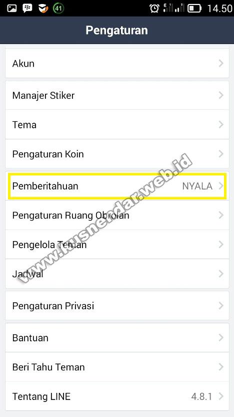 menu notification LINE
