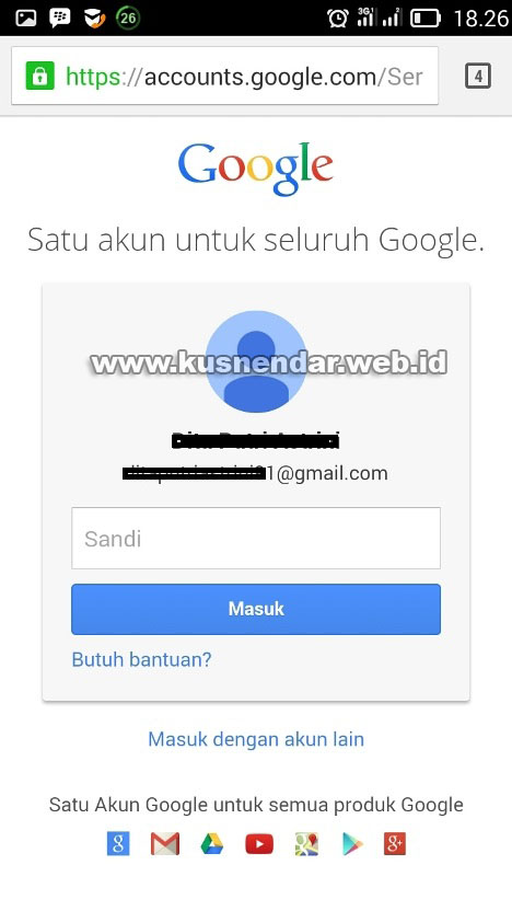 GMail di Browser Android