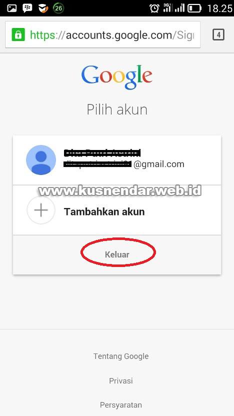 Log Out dari GMail Android