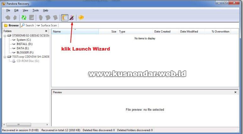Launch Wizard Pandora Recovery