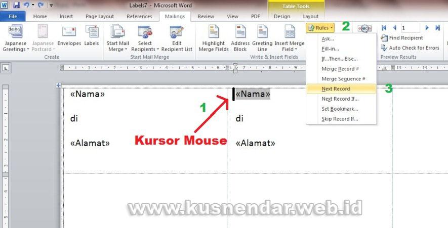 Format merge stiker label undangan