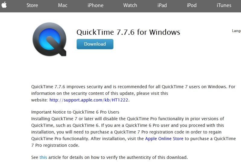 Download QuickTime 7 untuk Windows 7