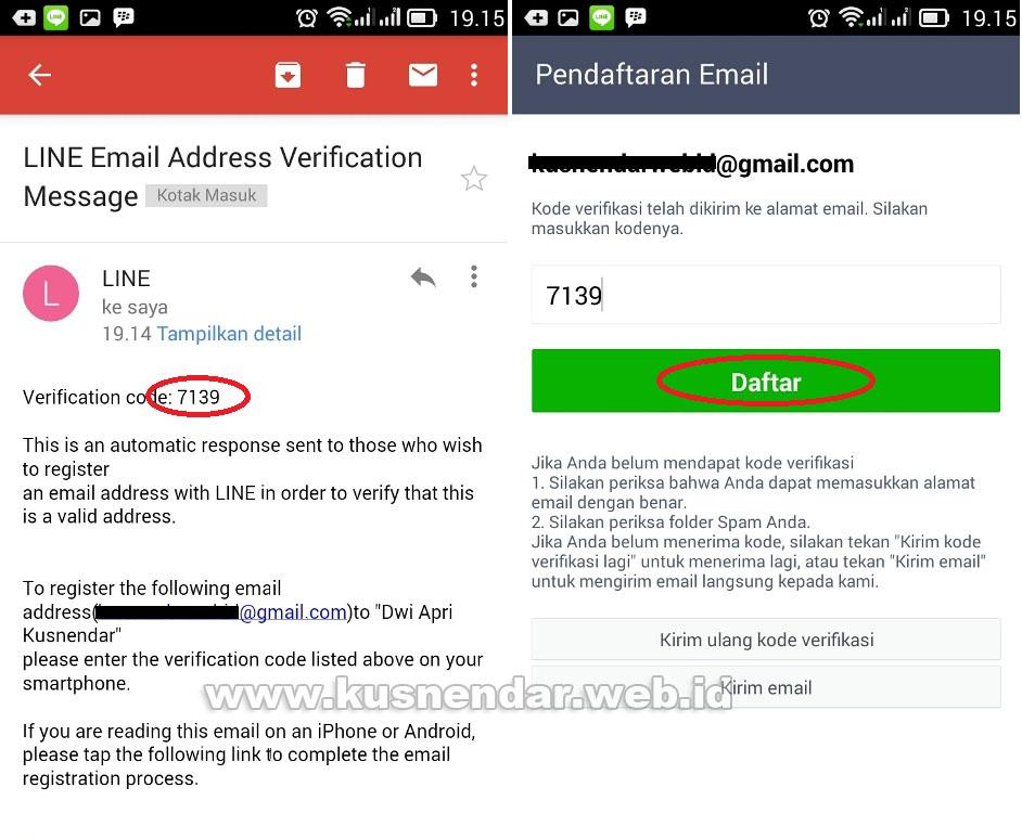 verifikasi email untuk akun baru line