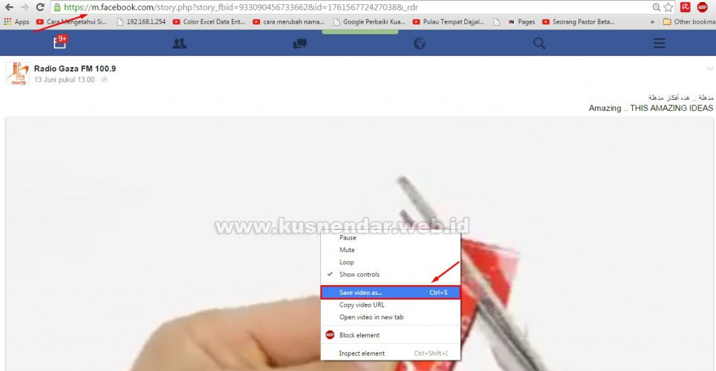 Cara Save Video FB