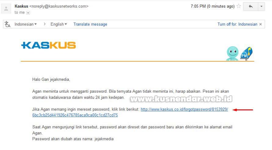 Email Pertama Reset Password kaskus