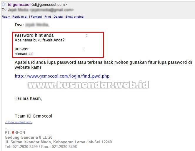Lupa Password Hint Gemscool