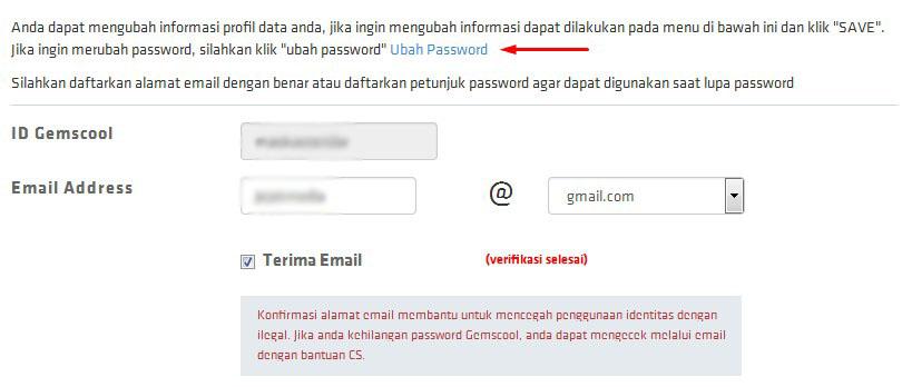 menu ubah password gemscool