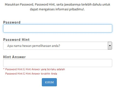 password dan hint gemscool
