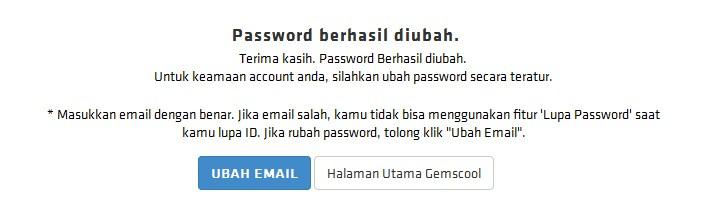 success change password gemscool