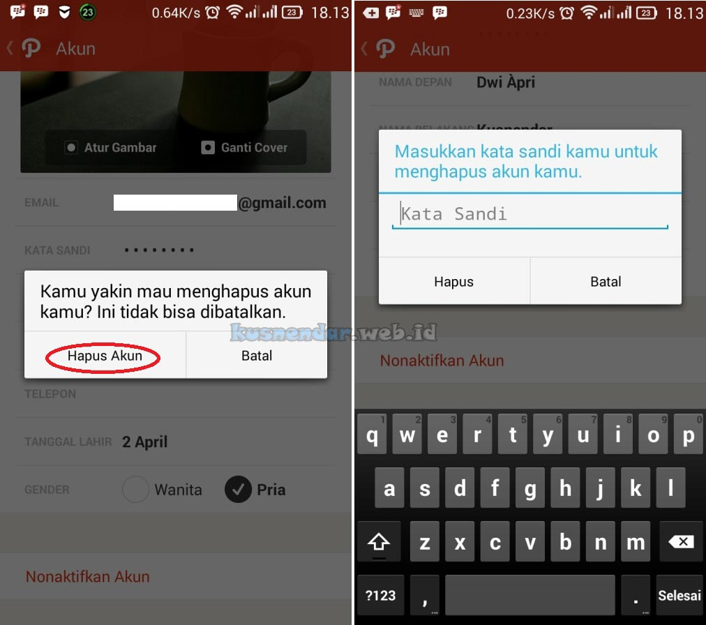 Password Delete Akun Path