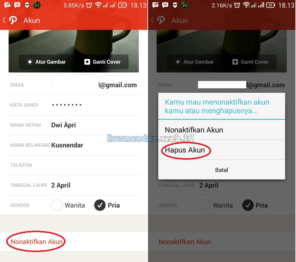 Tutorial Hapus Akun Path