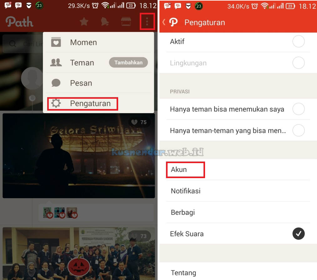 Menu Setting Aplikasi PATH