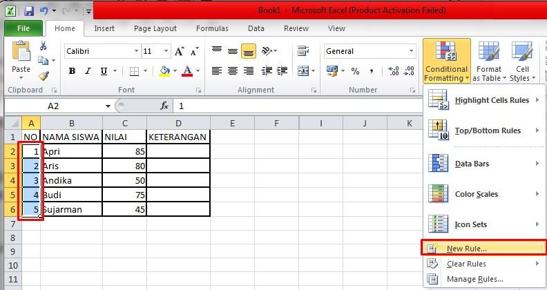 menu New Rule Conditional FOrmatting