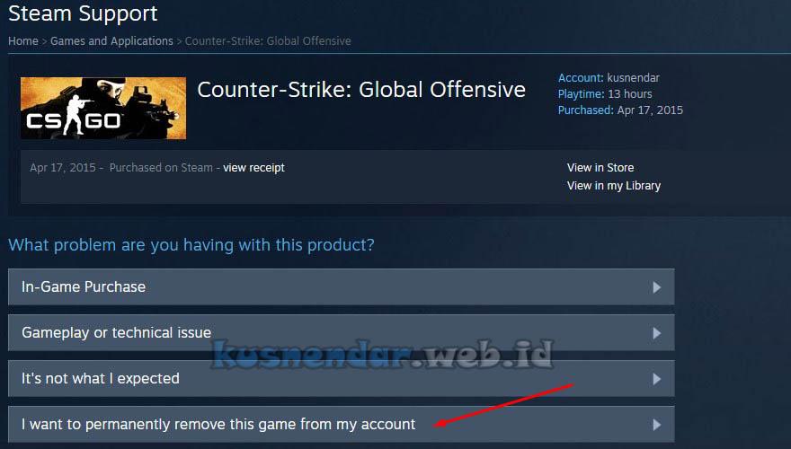 Hapus Game dari Steam Library
