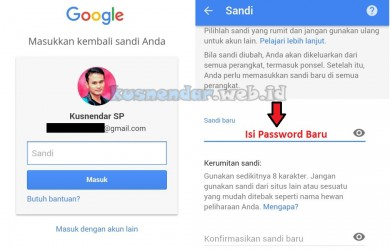 Ganti Password baru GMail ANdroid
